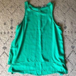 Split Back Sleeveless Tank Top - Teal Green